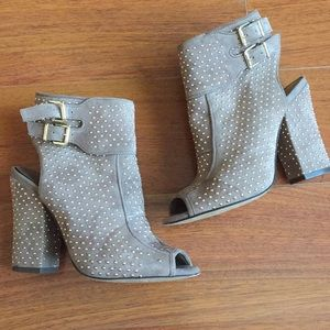 Jessica Simpson Grey Suede & Gold Stud Booties